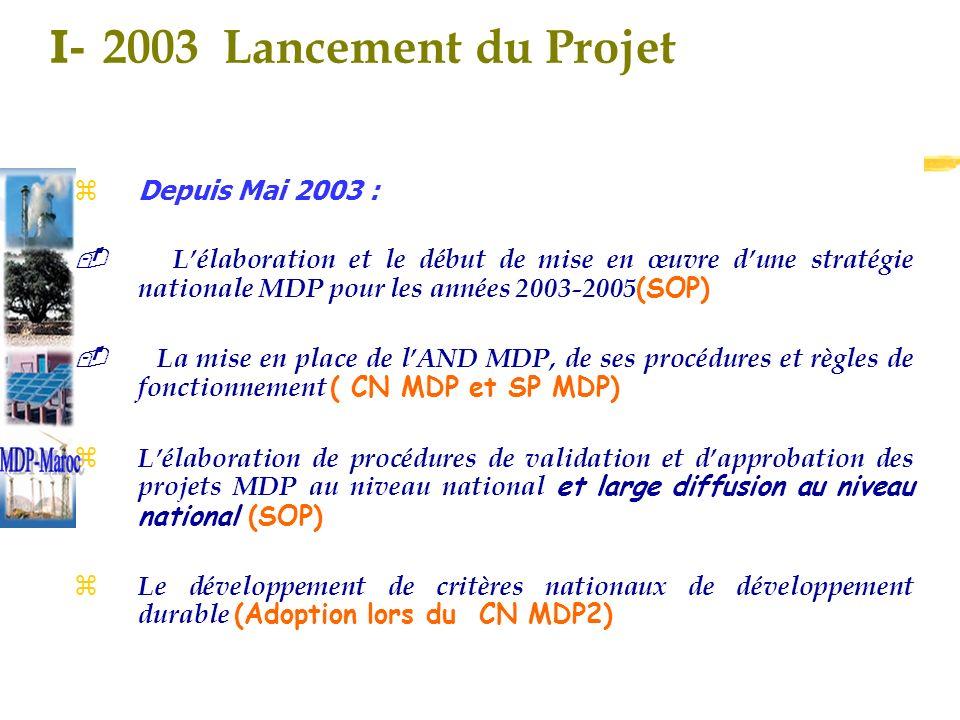 I- 2003 Lancement du Projet z Depuis Mai 2003 : Lélaboration et le début de mise en œuvre dune stratégie nationale MDP pour les années 2003-2005 (SOP) La mise en place de lAND MDP, de ses procédures et règles de fonctionnement ( CN MDP et SP MDP) Lélaboration de procédures de validation et dapprobation des projets MDP au niveau national et large diffusion au niveau national (SOP) Le développement de critères nationaux de développement durable (Adoption lors du CN MDP2)