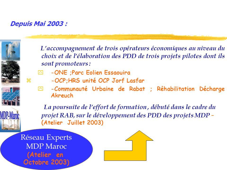 Depuis Mai 2003 : Laccompagnement de trois opérateurs économiques au niveau du choix et de lélaboration des PDD de trois projets pilotes dont ils sont promoteurs : y-ONE ;Parc Eolien Essaouira z -OCP;HRS unité OCP Jorf Lasfar y-Communauté Urbaine de Rabat ; Réhabilitation Décharge Akreuch La poursuite de leffort de formation, débuté dans le cadre du projet RAB, sur le développement des PDD des projets MDP – (Atelier Juillet 2003) Avec le soutien du PNUD et du PNUE Réseau Experts MDP Maroc (Atelier en Octobre 2003)