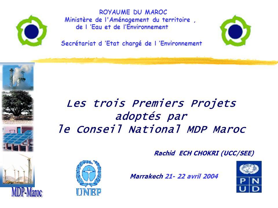 Sommaire I - Pourquoi le SEE a développé trois projets pilotes MDP -Les objectifs du développement de ces trois projets; -Les méthodologies et les critères de choix des projets pilotes; ii - Les trois Premiers Projets adoptés par le Conseil National MDP Maroc - + Projet ONE: parc Éolien; + Projet OCP: Efficacité Énergétique; + Projet Commune de Rabat: Bio gaz.
