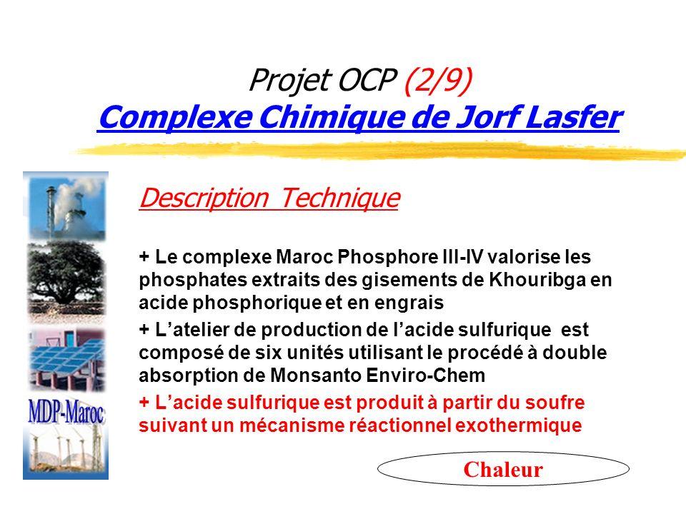 Projet OCP (2/9) Complexe Chimique de Jorf Lasfer Description Technique + Le complexe Maroc Phosphore III-IV valorise les phosphates extraits des gise