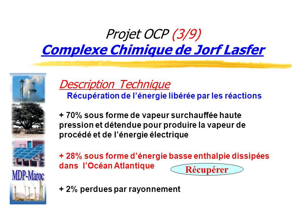 Projet OCP (3/9) Complexe Chimique de Jorf Lasfer Description Technique Récupération de lénergie libérée par les réactions + 70% sous forme de vapeur