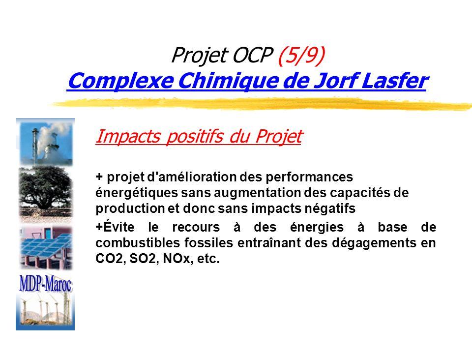 Projet OCP (5/9) Complexe Chimique de Jorf Lasfer Impacts positifs du Projet + projet d'amélioration des performances énergétiques sans augmentation d