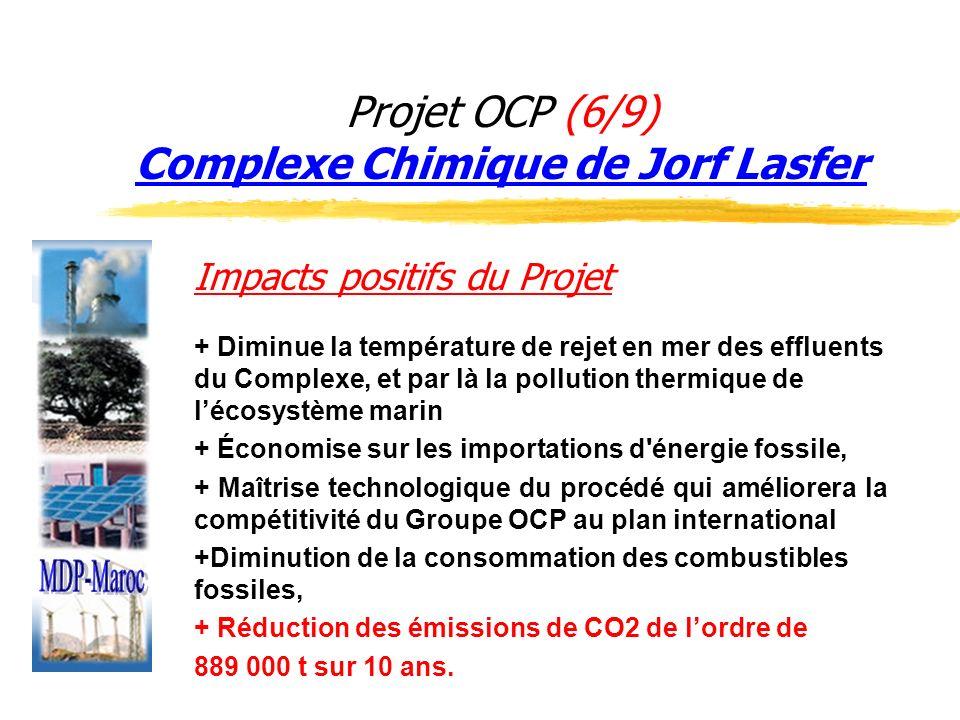 Projet OCP (6/9) Complexe Chimique de Jorf Lasfer Impacts positifs du Projet + Diminue la température de rejet en mer des effluents du Complexe, et pa