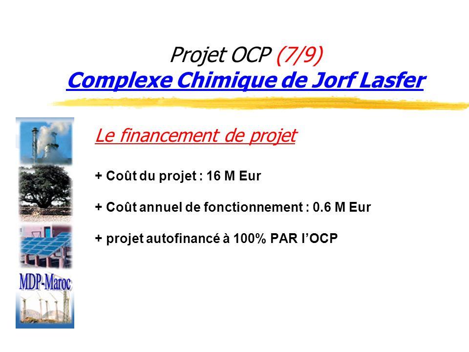 Projet OCP (7/9) Complexe Chimique de Jorf Lasfer Le financement de projet + Coût du projet : 16 M Eur + Coût annuel de fonctionnement : 0.6 M Eur + p