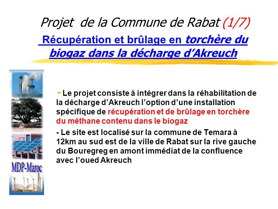 Projet de la Commune de Rabat (1/7) Récupération et brûlage en torchère du biogaz dans la décharge dAkreuch - Le projet consiste à intégrer dans la ré