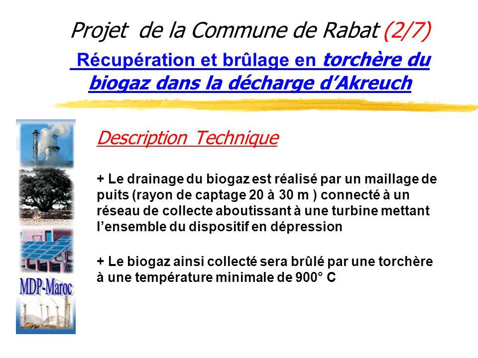 Projet de la Commune de Rabat (2/7) Récupération et brûlage en torchère du biogaz dans la décharge dAkreuch Description Technique + Le drainage du bio