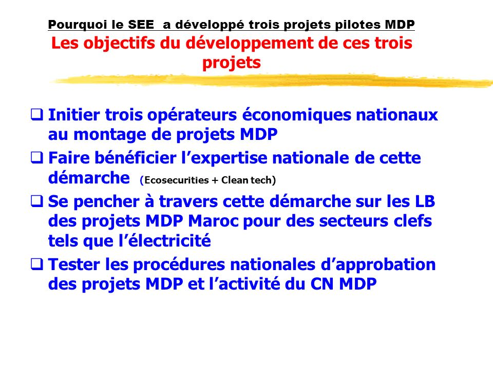 Pourquoi le SEE a développé trois projets pilotes MDP Les méthodologies et les critères de choix des 3 projets pilotes; Portefeuille initial de projets MDP Maroc ( Projet RAB) Réunions et contacts avec pour buts : Actualiser et renforcer ce portefeuille Choix des trois projets pilotes basé sur les critères suivants : Les projets les plus MDPeables et classés comme projet à grand échelle selon la classification du CE -MDP Les projets à bouclage financier le + avancé Diversité des thèmes des projets Diversité des promoteurs de projets