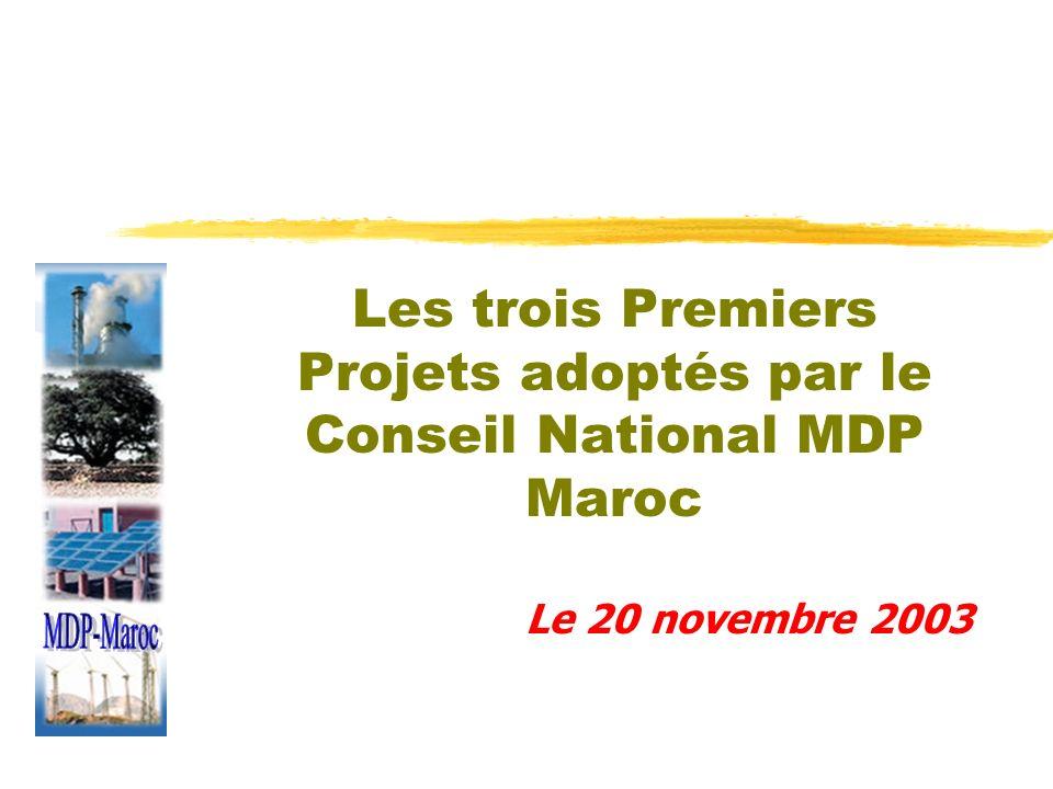 Les trois Premiers Projets adoptés par le Conseil National MDP Maroc - Projet ONE: parc Éolien; - Projet OCP: Efficacité Énergétique; - Projet de la Commune de Rabat : Décharge de Akruch.