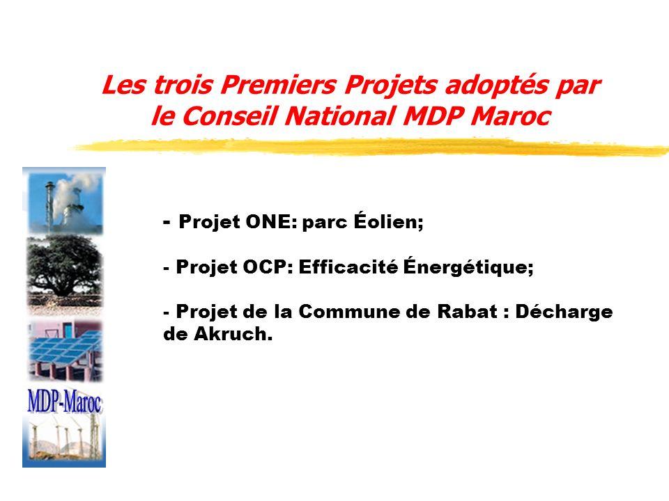 Les trois Premiers Projets adoptés par le Conseil National MDP Maroc - Projet ONE: parc Éolien; - Projet OCP: Efficacité Énergétique; - Projet de la C