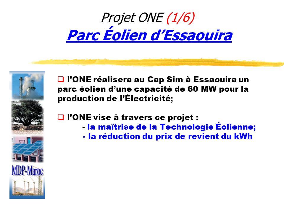 Projet ONE (2/6) Parc Éolien dEssaouira Description Technique Superficie du parc éolien: 900 ha Nombre daérogénérateurs: 100 environ Puissance nominale dun aérogénérateur: 600 kW Puissance installée: 60 MW Énergie annuelle produite: 210 GWh /an