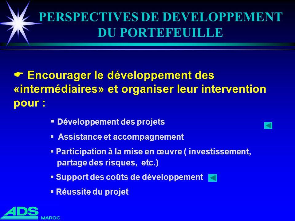 PERSPECTIVES DE DEVELOPPEMENT DU PORTEFEUILLE Encourager le développement des «intermédiaires» et organiser leur intervention pour : Développement des