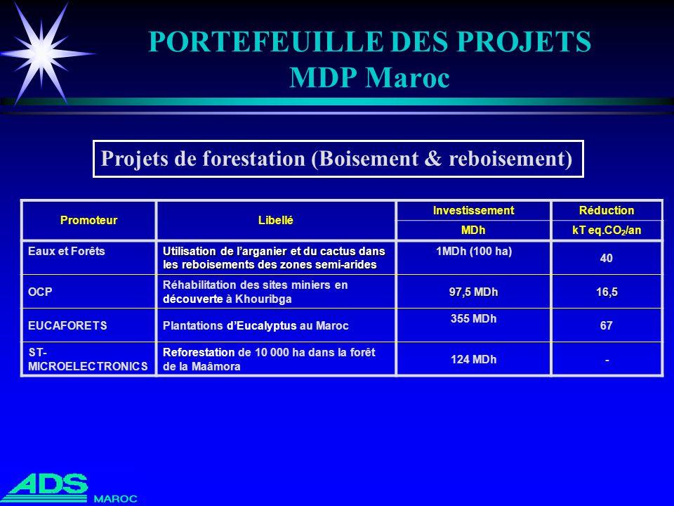 PORTEFEUILLE DES PROJETS MDP Maroc PromoteurLibellé InvestissementRéduction MDhkT eq.CO 2 /an Eaux et Forêts Utilisation de larganier et du cactus dan