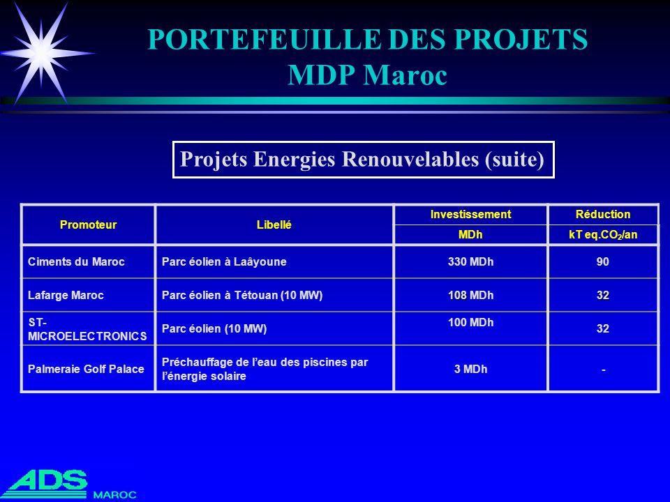 PORTEFEUILLE DES PROJETS MDP Maroc PromoteurLibellé InvestissementRéduction MDhkT eq.CO 2 /an Ciments du MarocParc éolien à Laâyoune330 MDh90 Lafarge