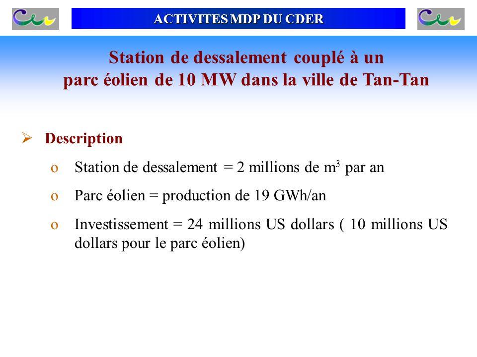 ACTIVITES MDP DU CDER Station de dessalement couplé à un parc éolien de 10 MW dans la ville de Tan-Tan Description oStation de dessalement = 2 million