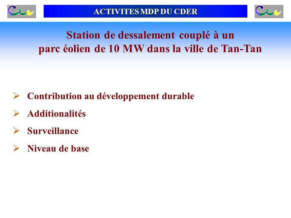 ACTIVITES MDP DU CDER Contribution au développement durable Additionalités Surveillance Niveau de base Station de dessalement couplé à un parc éolien