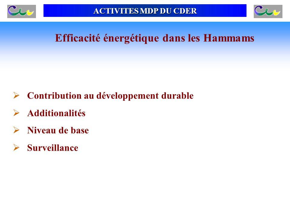 ACTIVITES MDP DU CDER Contribution au développement durable Additionalités Niveau de base Surveillance Efficacité énergétique dans les Hammams