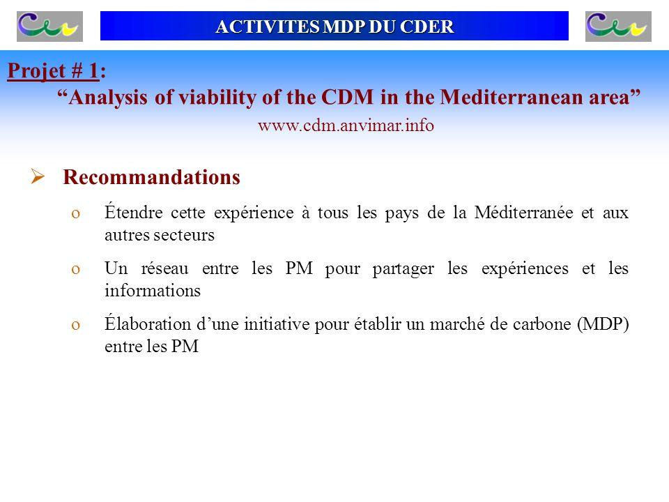 ACTIVITES MDP DU CDER Recommandations oÉtendre cette expérience à tous les pays de la Méditerranée et aux autres secteurs oUn réseau entre les PM pour