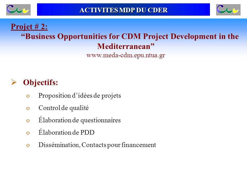 Projet # 2: Business Opportunities for CDM Project Development in the Mediterranean www.meda-cdm.epu.ntua.gr ACTIVITES MDP DU CDER Objectifs: oProposi