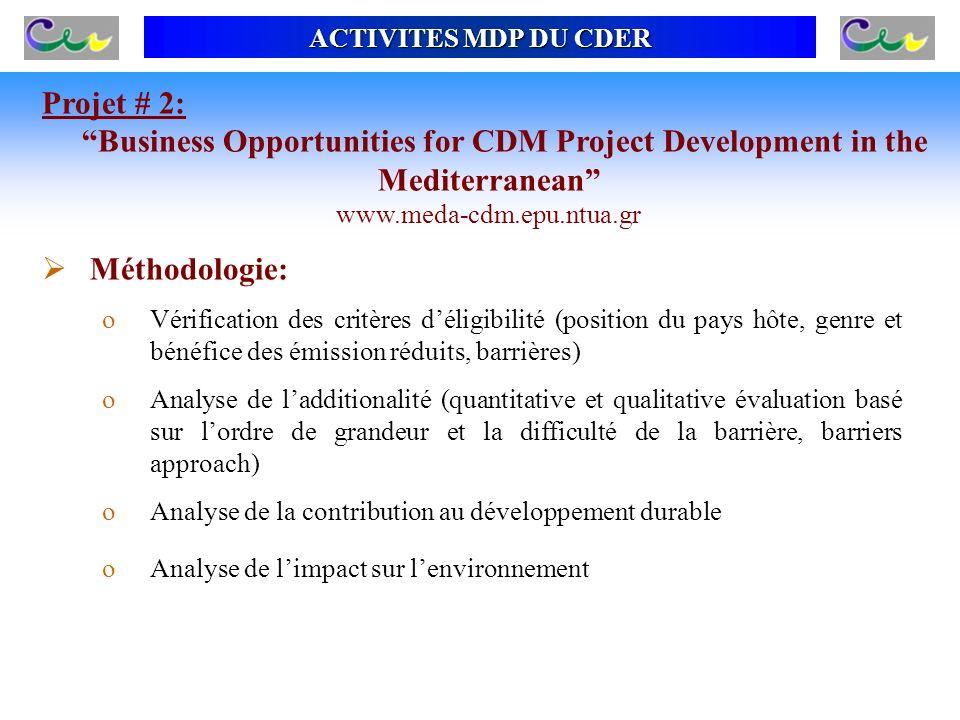 ACTIVITES MDP DU CDER Méthodologie: oVérification des critères déligibilité (position du pays hôte, genre et bénéfice des émission réduits, barrières)