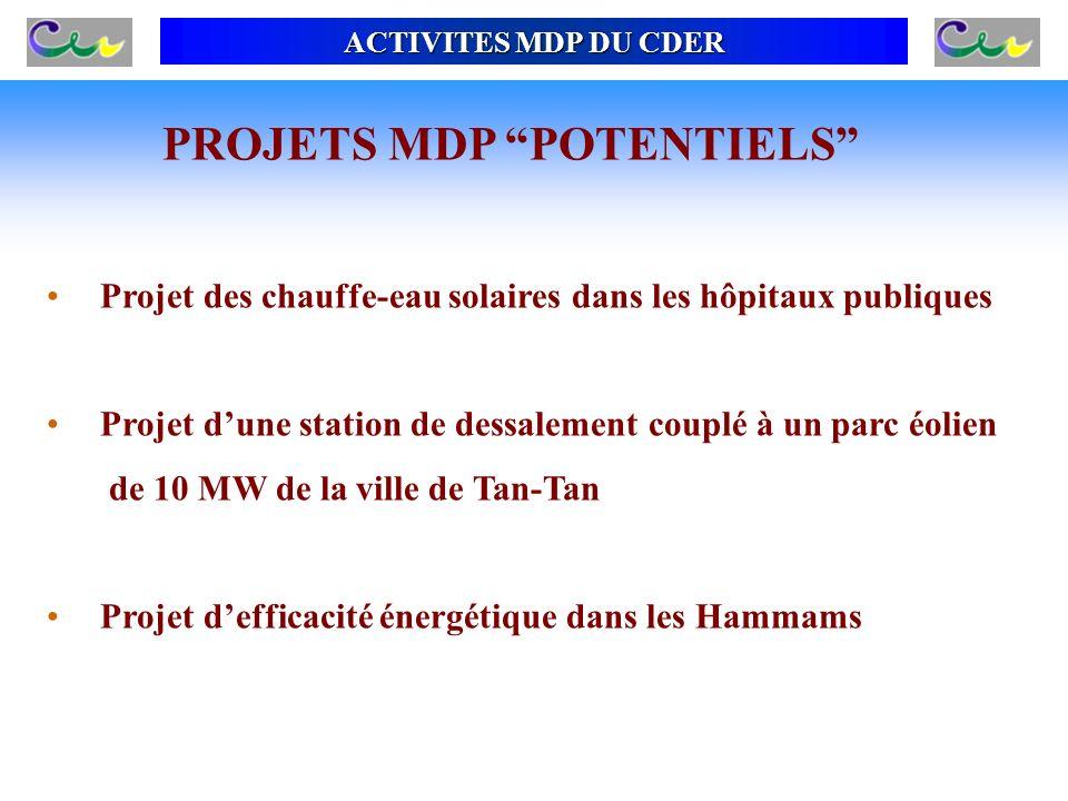 Projet des chauffe-eau solaires dans les hôpitaux publiques Projet dune station de dessalement couplé à un parc éolien de 10 MW de la ville de Tan-Tan