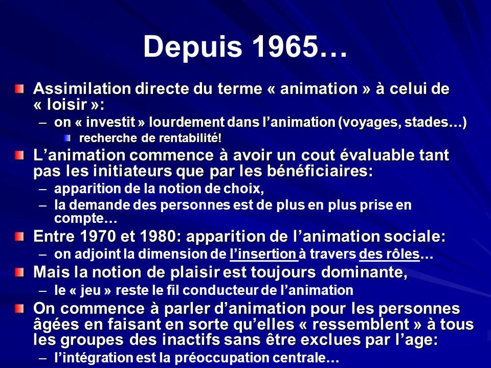 Depuis 1965… Assimilation directe du terme « animation » à celui de « loisir »: –on « investit » lourdement dans lanimation (voyages, stades…) recherc