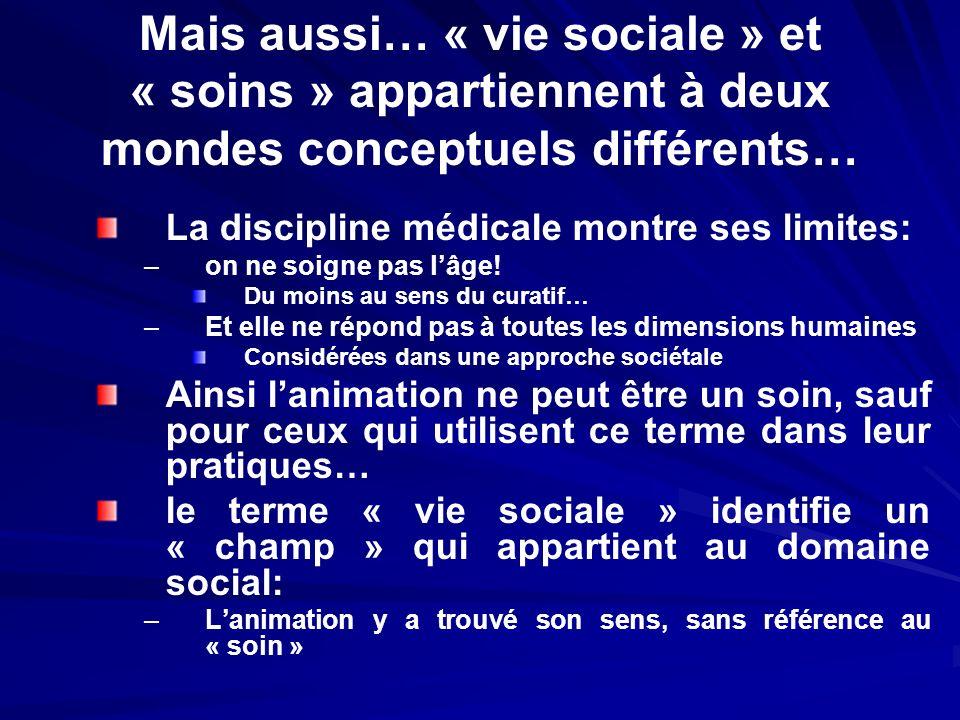 Mais aussi… « vie sociale » et « soins » appartiennent à deux mondes conceptuels différents… La discipline médicale montre ses limites: – –on ne soign
