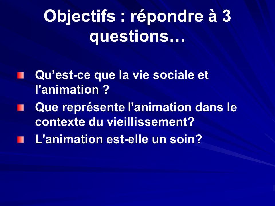 Objectifs : répondre à 3 questions… Quest-ce que la vie sociale et l'animation ? Que représente l'animation dans le contexte du vieillissement? L'anim