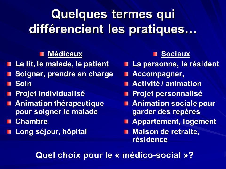 Quelques termes qui différencient les pratiques… Médicaux Le lit, le malade, le patient Soigner, prendre en charge Soin Projet individualisé Animation