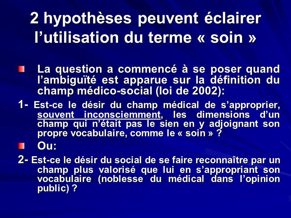 2 hypothèses peuvent éclairer lutilisation du terme « soin » La question a commencé à se poser quand lambiguïté est apparue sur la définition du champ