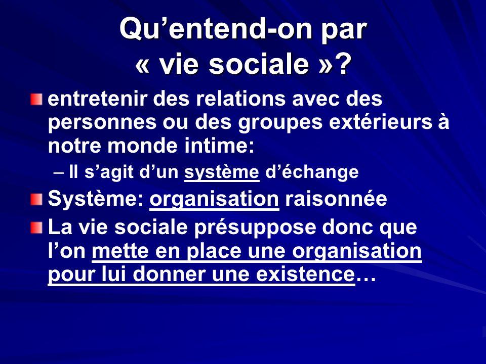 Quentend-on par « vie sociale »? entretenir des relations avec des personnes ou des groupes extérieurs à notre monde intime: – –Il sagit dun système d