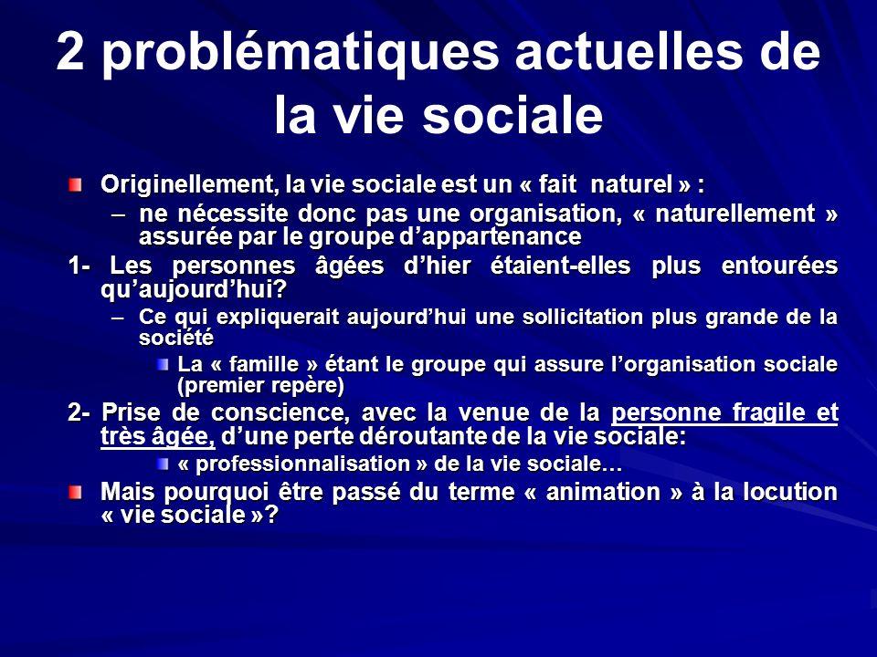 2 problématiques actuelles de la vie sociale Originellement, la vie sociale est un « fait naturel » : –ne nécessite donc pas une organisation, « natur