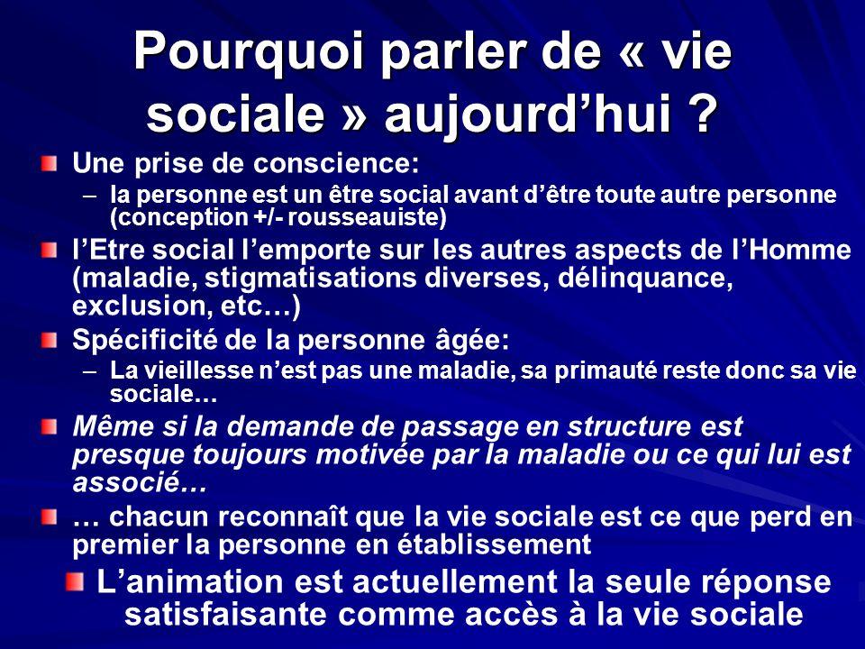 Pourquoi parler de « vie sociale » aujourdhui ? Une prise de conscience: – –la personne est un être social avant dêtre toute autre personne (conceptio