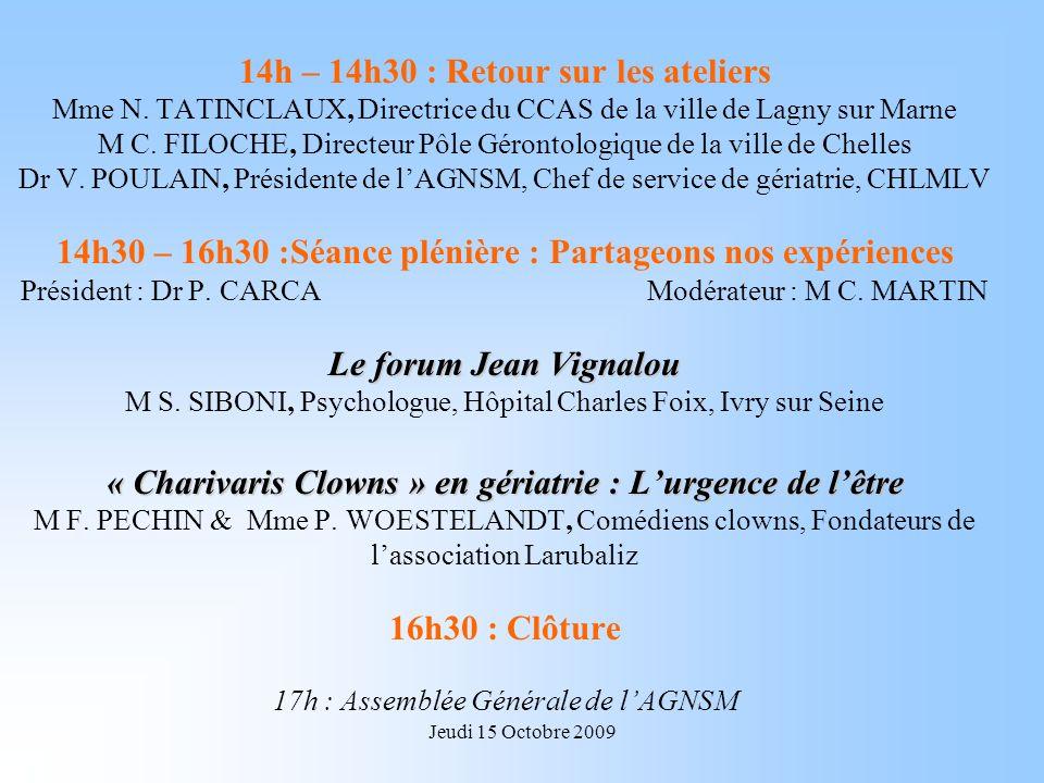 Jeudi 15 Octobre 2009 Le forum Jean Vignalou « Charivaris Clowns » en gériatrie : Lurgence de lêtre 14h – 14h30 : Retour sur les ateliers Mme N.
