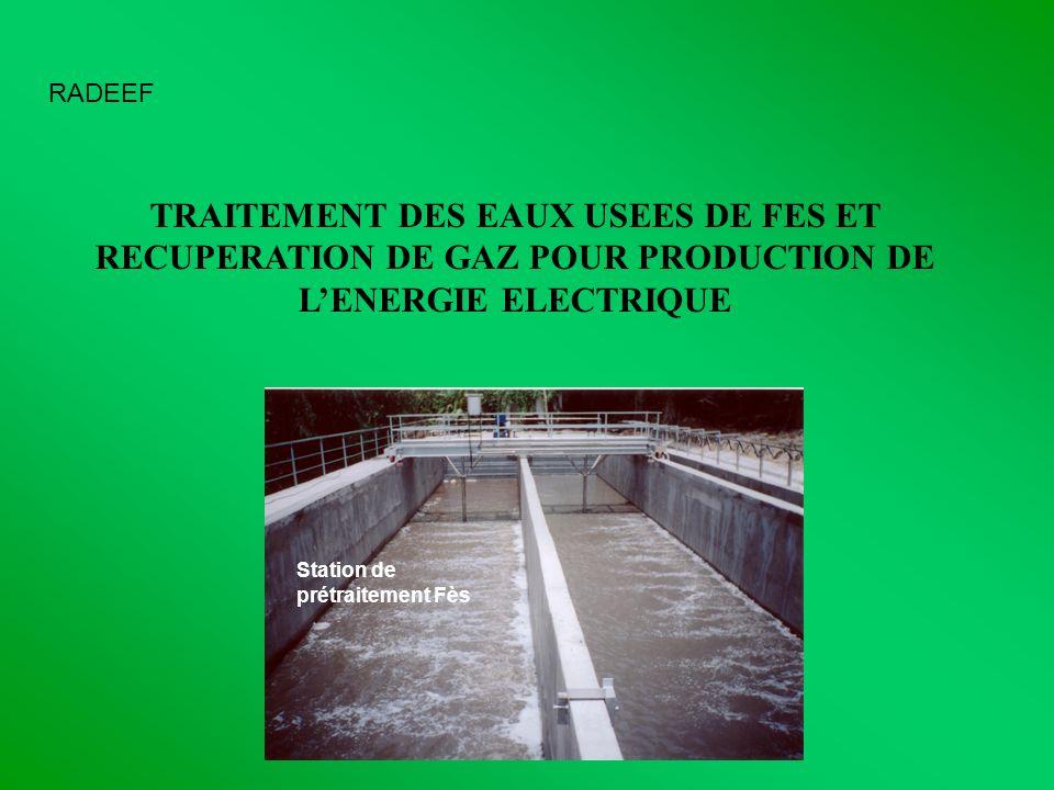 RADEEF TRAITEMENT DES EAUX USEES DE FES ET RECUPERATION DE GAZ POUR PRODUCTION DE LENERGIE ELECTRIQUE Station de prétraitement Fès