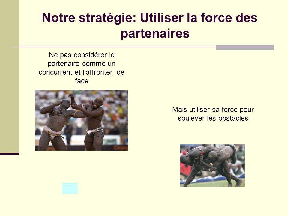 Notre stratégie: Utiliser la force des partenaires Ne pas considérer le partenaire comme un concurrent et laffronter de face Mais utiliser sa force pour soulever les obstacles