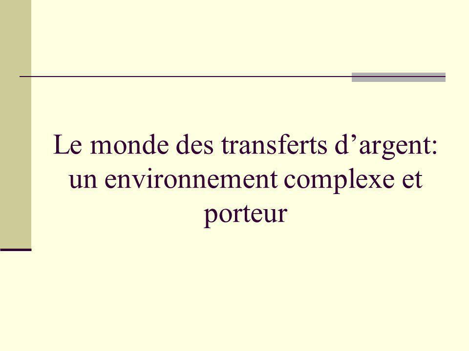 La poste utilise ses produits de mandats traditionnels et les produits des opérateurs internationaux La poste utilise ses produits de mandats traditionnels et les produits des opérateurs internationaux Les sommes transférées sont utilisées comme suit: la consommation (75%) Lépargne (10%) Immobilier et le commerce (10%) Les sommes transférées sont utilisées comme suit: la consommation (75%) Lépargne (10%) Immobilier et le commerce (10%) Les sommes transférées sont très Importantes Exemple du Sénégal: + 400 milliards de F CFA en Moyenne par an soit 9% du PIB Les sommes transférées sont très Importantes Exemple du Sénégal: + 400 milliards de F CFA en Moyenne par an soit 9% du PIB La diversité des acteurs: La Poste, Western Union, MoneyGram, Money Express Les banques locales Les institutions de microfinance La diversité des acteurs: La Poste, Western Union, MoneyGram, Money Express Les banques locales Les institutions de microfinance 1 3 2 5 4 Un environnement complexe et porteur Comprendre le secteur des transferts Diversifications des supports Basés sur les TIC Transferts électroniques Mobile banking Cartes bancaires etc Diversifications des supports Basés sur les TIC Transferts électroniques Mobile banking Cartes bancaires etc