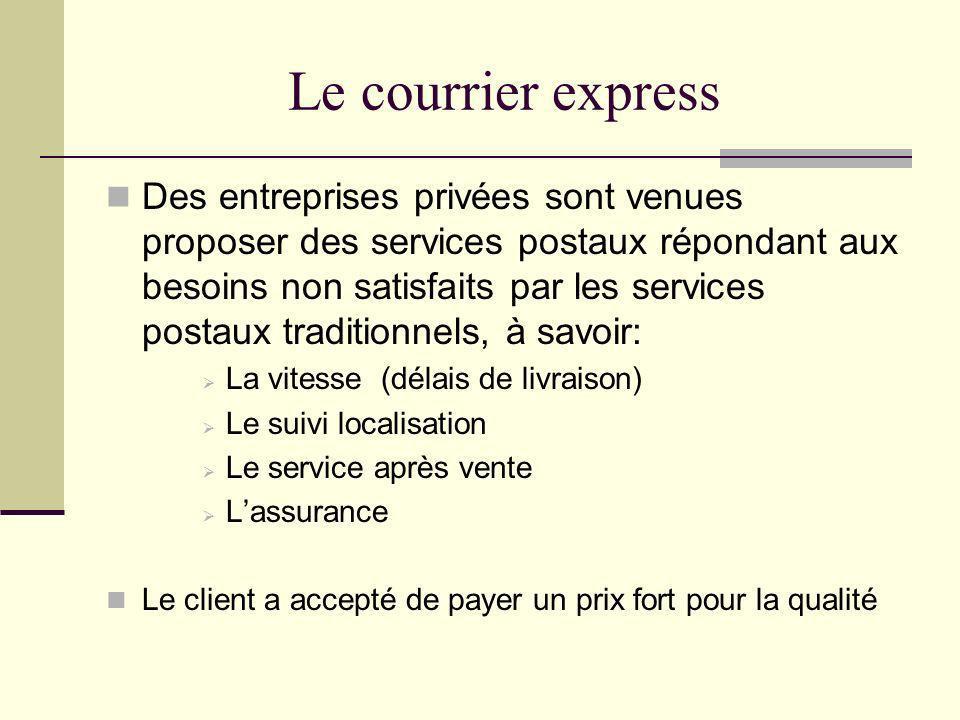 Le courrier express Des entreprises privées sont venues proposer des services postaux répondant aux besoins non satisfaits par les services postaux tr
