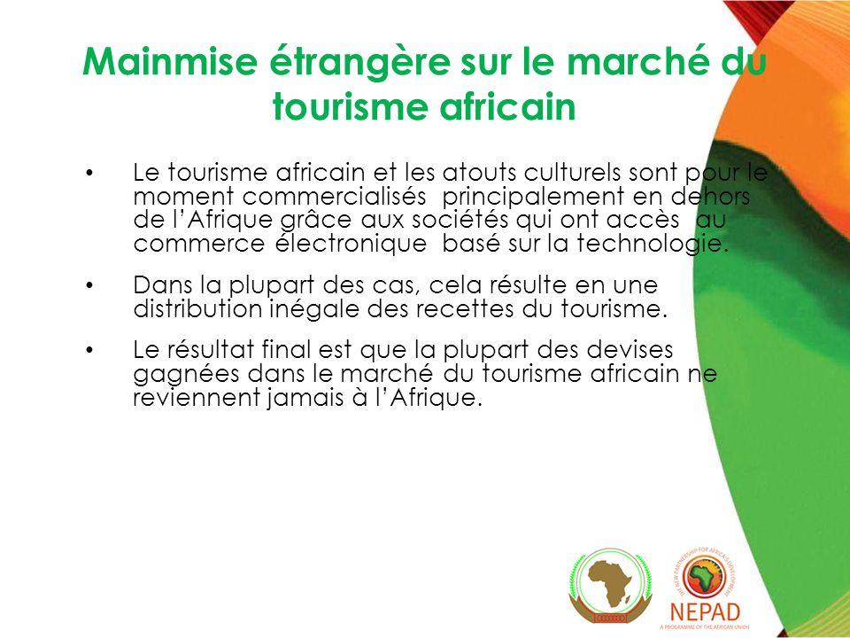 Mainmise étrangère sur le marché du tourisme africain Le tourisme africain et les atouts culturels sont pour le moment commercialisés principalement en dehors de lAfrique grâce aux sociétés qui ont accès au commerce électronique basé sur la technologie.