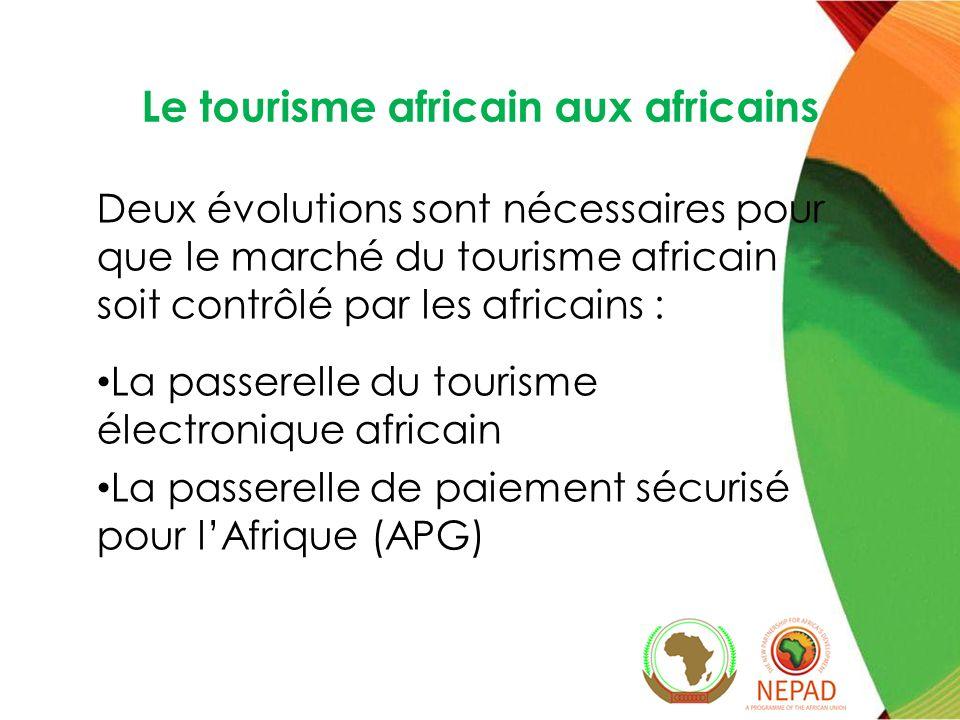 Le tourisme africain aux africains Deux évolutions sont nécessaires pour que le marché du tourisme africain soit contrôlé par les africains : La passerelle du tourisme électronique africain La passerelle de paiement sécurisé pour lAfrique (APG)