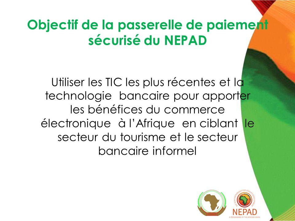 Objectif de la passerelle de paiement sécurisé du NEPAD Utiliser les TIC les plus récentes et la technologie bancaire pour apporter les bénéfices du commerce électronique à lAfrique en ciblant le secteur du tourisme et le secteur bancaire informel