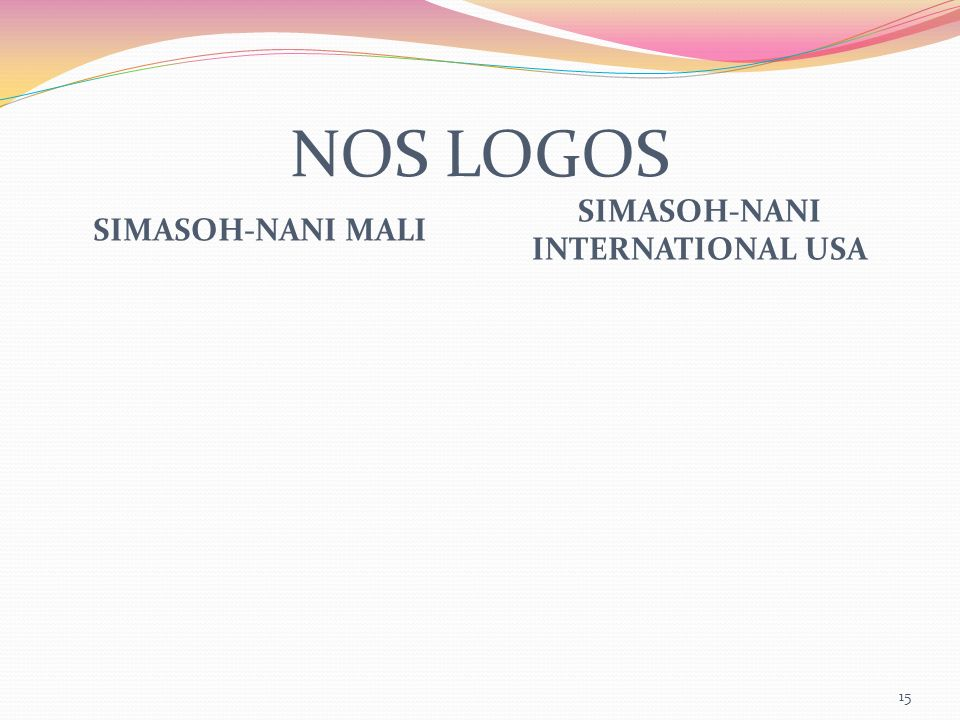 NOS LOGOS SIMASOH-NANI MALI SIMASOH-NANI INTERNATIONAL USA 15