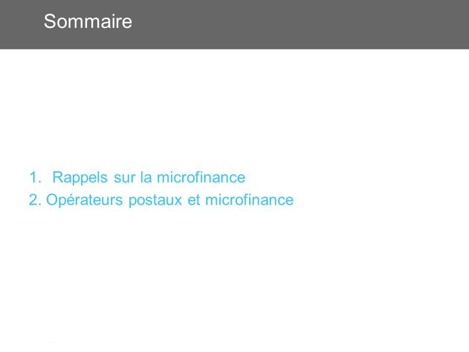Sommaire 1.Rappels sur la microfinance 2. Opérateurs postaux et microfinance