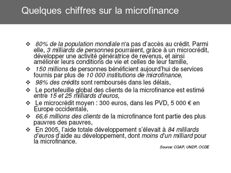 Quelques chiffres sur la microfinance