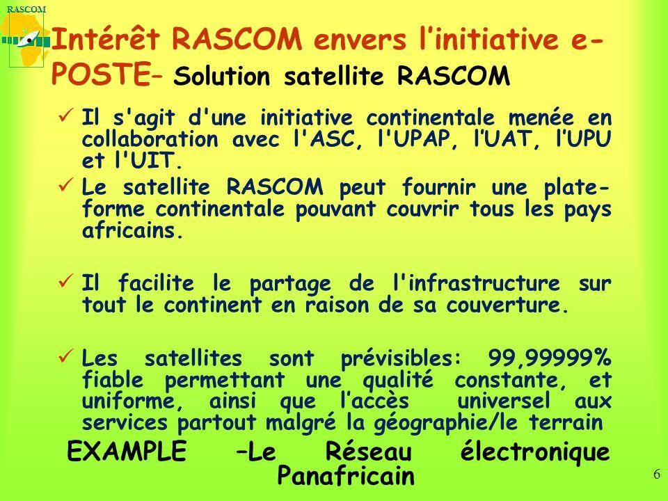 RASCOM 6 Intérêt RASCOM envers linitiative e- POSTE – Solution satellite RASCOM Il s agit d une initiative continentale menée en collaboration avec l ASC, l UPAP, lUAT, lUPU et l UIT.