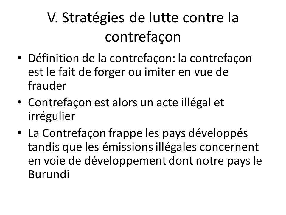 V. Stratégies de lutte contre la contrefaçon Définition de la contrefaçon: la contrefaçon est le fait de forger ou imiter en vue de frauder Contrefaço