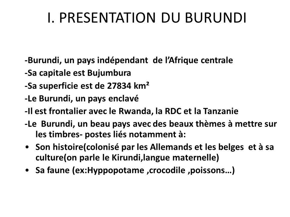 I. PRESENTATION DU BURUNDI -Burundi, un pays indépendant de lAfrique centrale -Sa capitale est Bujumbura -Sa superficie est de 27834 km² -Le Burundi,