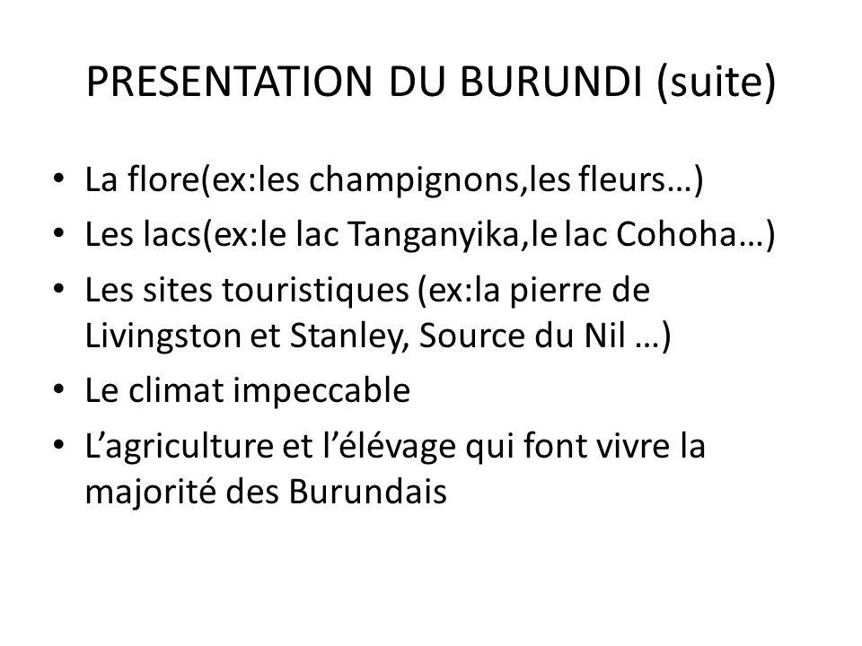 PRESENTATION DU BURUNDI (suite) La flore(ex:les champignons,les fleurs…) Les lacs(ex:le lac Tanganyika,le lac Cohoha…) Les sites touristiques (ex:la p