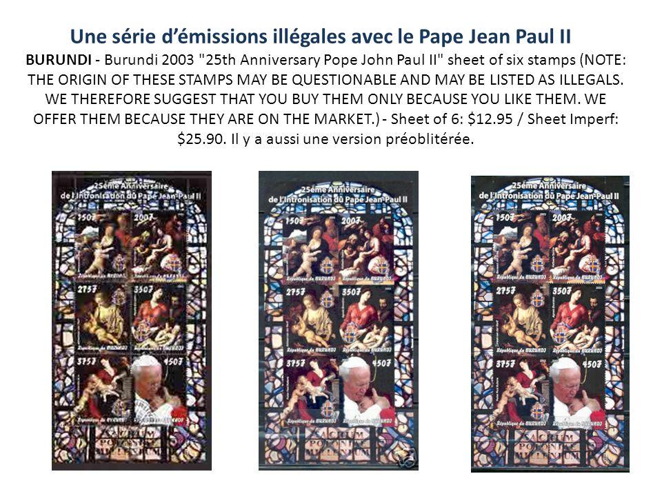 Une série démissions illégales avec le Pape Jean Paul II BURUNDI - Burundi 2003