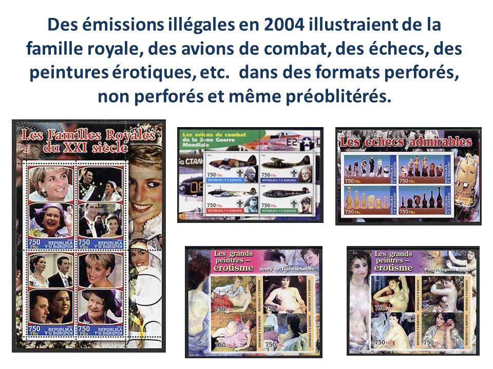 Des émissions illégales en 2004 illustraient de la famille royale, des avions de combat, des échecs, des peintures érotiques, etc. dans des formats pe