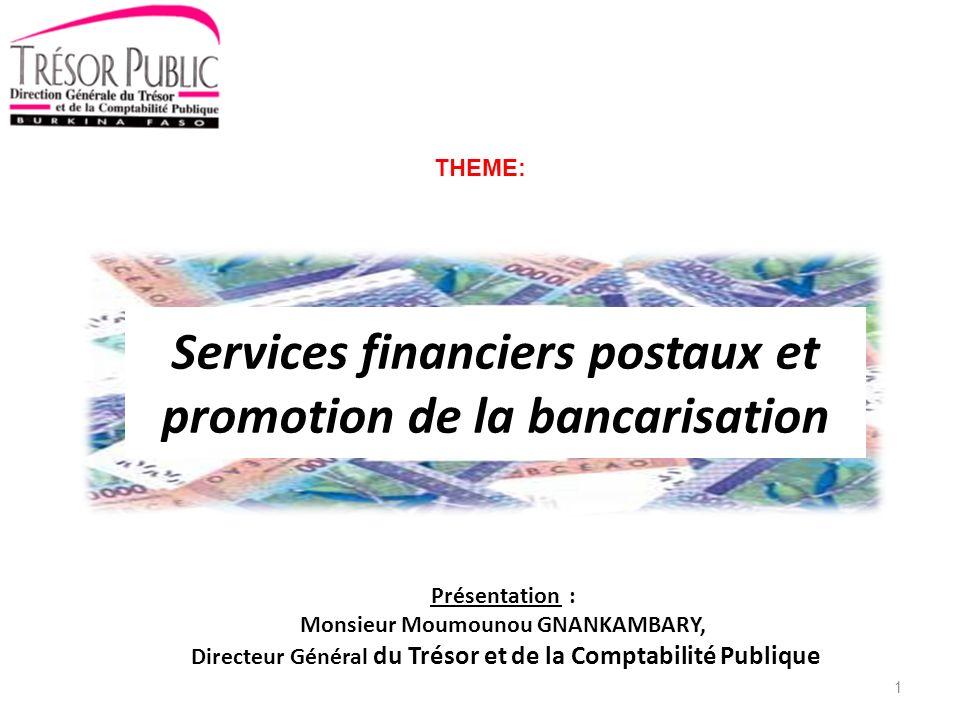 Plan de présentation I.Introduction II.Présentation de lespace financier du Burkina Faso III.Réseau du secteur financier et services offerts IV.Perspectives de développement de la finance postale dans un contexte de promotion de la bancarisation V.Conclusion 2